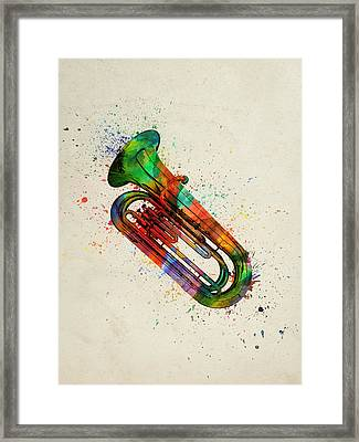 Colorful Tuba 05 Framed Print by Aged Pixel