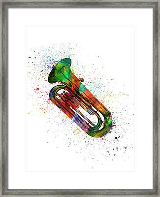 Colorful Tuba 06 Framed Print by Aged Pixel