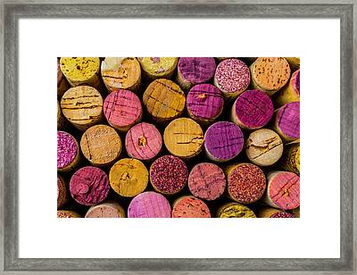 Colorful Wine Corks Framed Print by Garry Gay