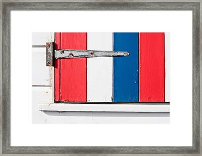Colorful Wooden Shutter Framed Print by Tom Gowanlock