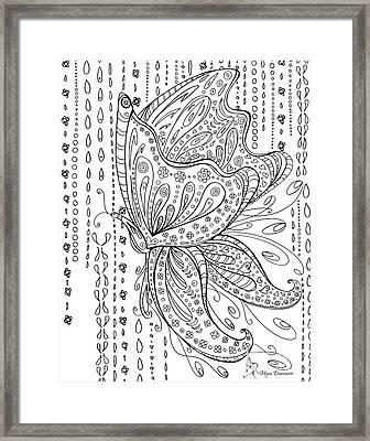 Coloring Page With Beautiful Butterfly Drawing By Megan Duncanson Framed Print by Megan Duncanson