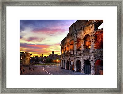 Colosseum At Sunset Framed Print by Christopher Chan