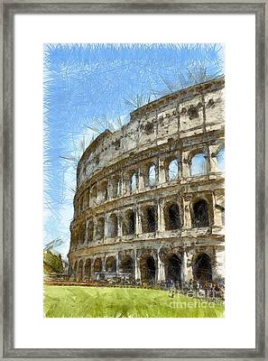 Colosseum Or Coliseum Pencil Framed Print by Edward Fielding