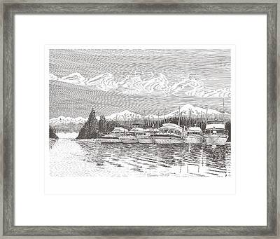 Columbia River Raft Up Framed Print by Jack Pumphrey