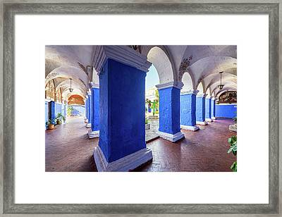 Columns In Santa Catalina Monastery Framed Print by Jess Kraft