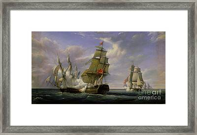 Combat Between The French Frigate La Canonniere And The English Vessel The Tremendous Framed Print by Pierre Julien Gilbert