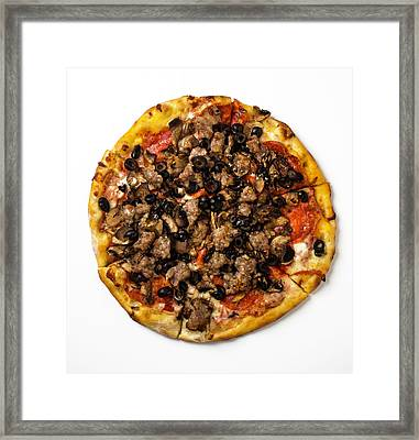 Combination Pizza Framed Print by Garry Gay