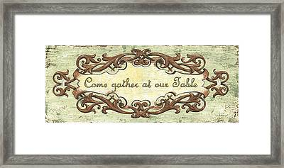 Come Gather At Our Table Framed Print by Debbie DeWitt