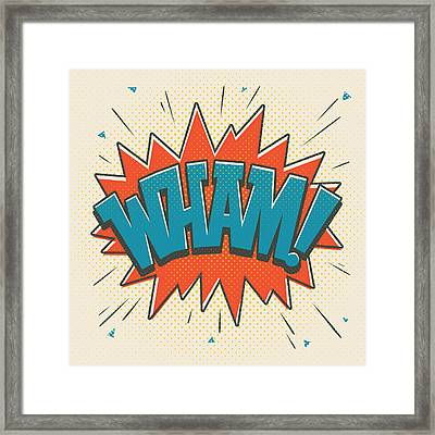 Comic Wham On White Framed Print by Mitch Frey