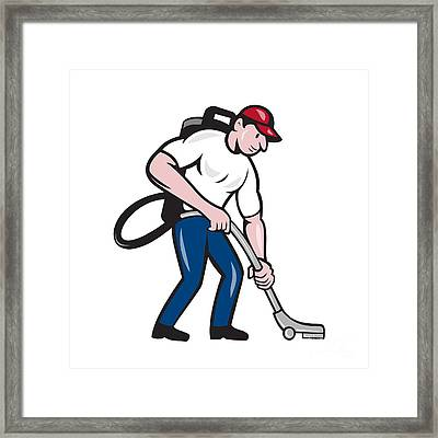 Commercial Cleaner Janitor Vacuum Cartoon Framed Print by Aloysius Patrimonio