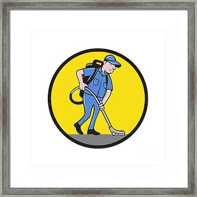 Commercial Cleaner Janitor Vacuum Circle Cartoon Framed Print by Aloysius Patrimonio
