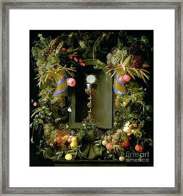 Communion Cup And Host Encircled With A Garland Of Fruit Framed Print by Jan Davidsz de  Heem