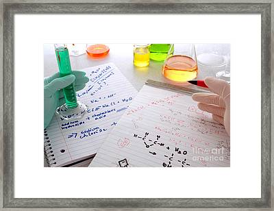 Comparing Scientific Notes Framed Print by Olivier Le Queinec