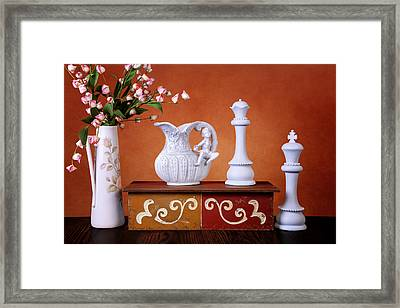 Composition In Whte And Orange Framed Print by Tom Mc Nemar