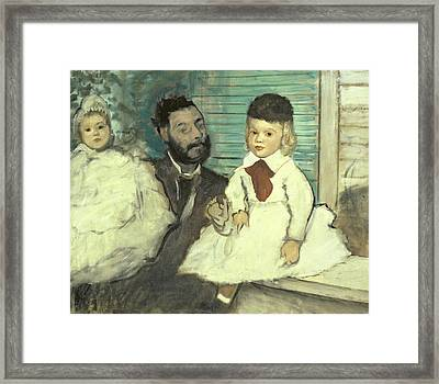 Comte Le Pic And His Sons Framed Print by Edgar Degas
