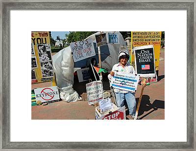 Concepcion Picciotto's 34 Year White House Peace Vigil Framed Print by Cora Wandel