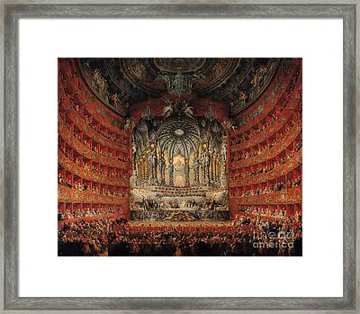 Concert Given By Cardinal De La Rochefoucauld At The Argentina Theatre In Rome Framed Print by Giovanni Paolo Pannini or Panini