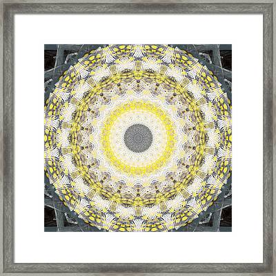 Concrete And Yellow Mandala- Abstract Art By Linda Woods Framed Print by Linda Woods