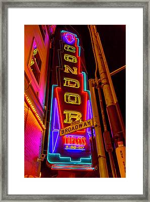 Condor Neon On Broadway Framed Print by Garry Gay