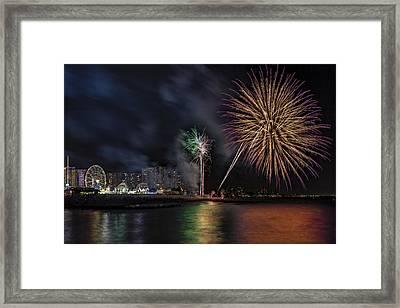 Coney Island Boardwalk Fireworks Framed Print by Susan Candelario