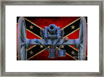 Confederate Flag And Cannon Framed Print by Randy Steele