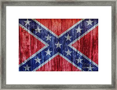Confederate Flag On Wood Framed Print by Randy Steele