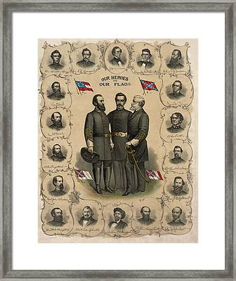 Confederate Generals Of The Civil War Framed Print by War Is Hell Store