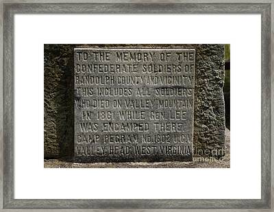 Confederate Solider Monument Framed Print by Randy Bodkins