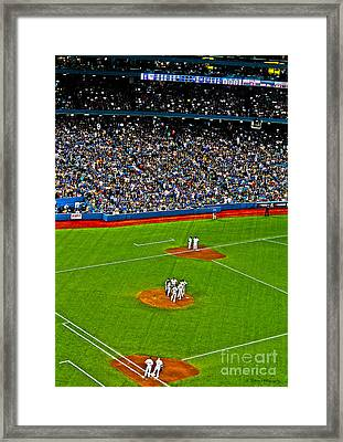 Conference On The Pitcher's Mound Framed Print by Nina Silver