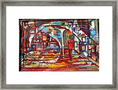 Confused Man In The Moon With Trumpet Framed Print by Samuel Miller