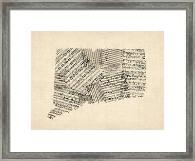 Connecticut Sheet Music Map Framed Print by Michael Tompsett