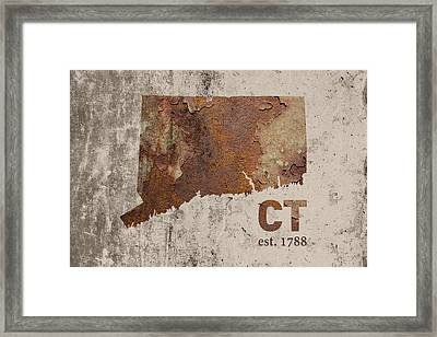 Connecticut State Map Industrial Rusted Metal On Cement Wall With Founding Date Series 024 Framed Print by Design Turnpike