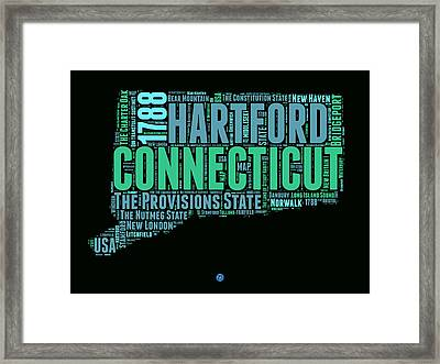 Connecticut Word Cloud Map 1 Framed Print by Naxart Studio