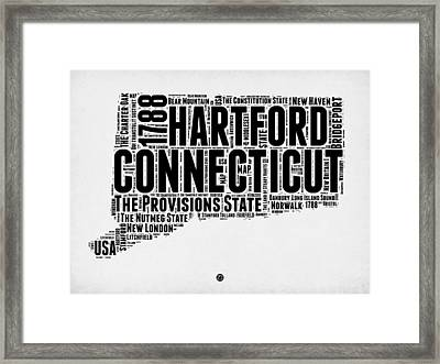 Connecticut Word Cloud Map 2 Framed Print by Naxart Studio