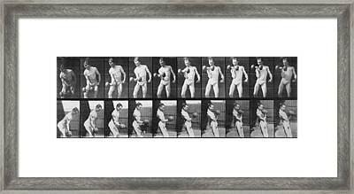 Consecutive Images Of Man Lifting Framed Print by Everett