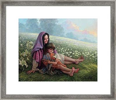 Consider The Lilies Framed Print by Greg Olsen