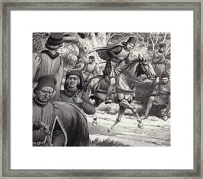 Conspirators Look On As Lorenzo De Medici Rides By  Framed Print by Pat Nicolle