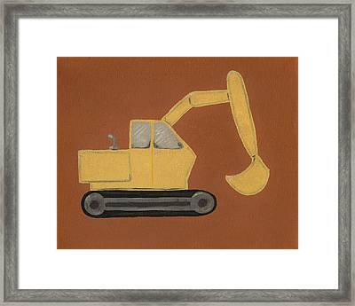 Construction Digger Framed Print by Katie Carlsruh