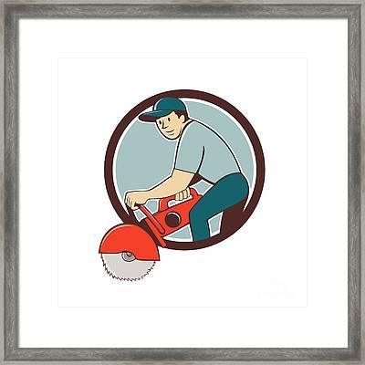 Construction Worker Concrete Saw Cutter Cartoon Framed Print by Aloysius Patrimonio