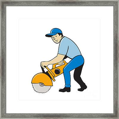 Construction Worker Concrete Saw Cutter Isolated Framed Print by Aloysius Patrimonio