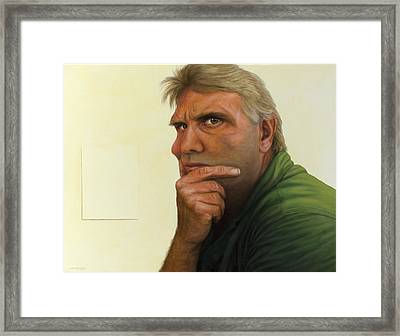 Contemplating The Blank Page Framed Print by James W Johnson
