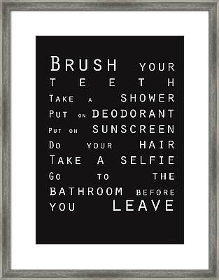 Contemporary Bathroom Rules - Subway Sign Framed Print by Linda Woods