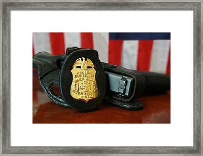 Contemporary Fbi Badge And Gun Framed Print by Everett