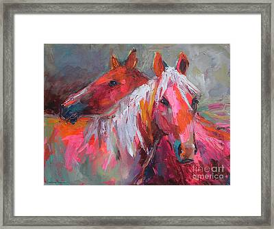 Contemporary Horses Painting Framed Print by Svetlana Novikova