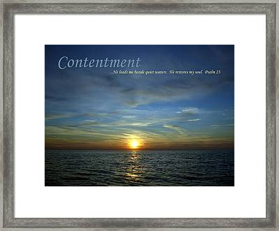 Motivational Posters Framed Print featuring the photograph Contentment by Michelle Calkins