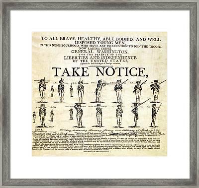 Continental Army Recruitment Broadside Framed Print by Everett