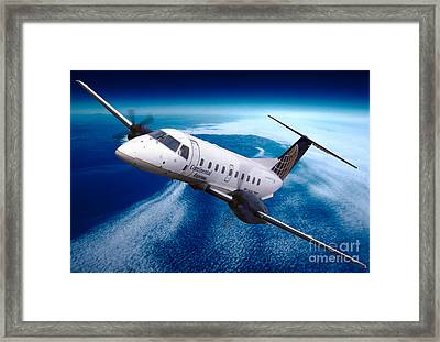 Continental Express Embraer Emb120rt Brasilia N16731 Framed Print by Wernher Krutein