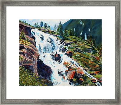Continental Falls Revisited Framed Print by Mary Benke