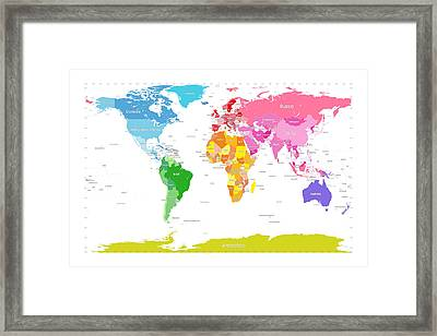 Continents World Map Large Text For Kids Framed Print by Michael Tompsett