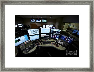 Control Room Center For Emergency Framed Print by Terry Moore